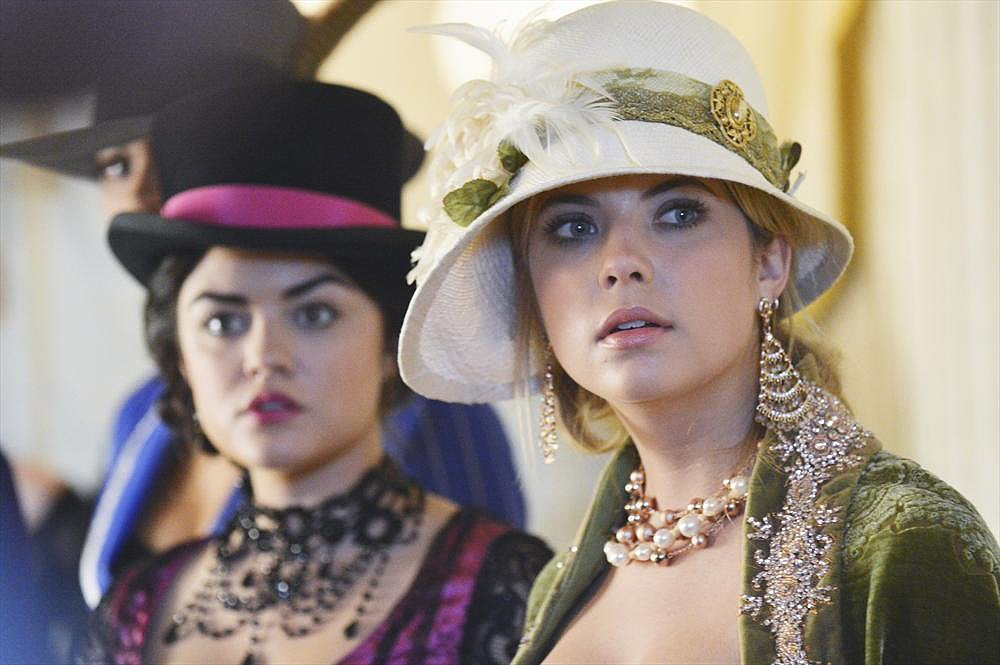 Aria and Hanna's costume must-have: statement-making jewels. Photos courtesy of ABC Family