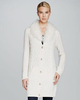 Neiman Marcus Long Fur-Collar Cable-Knit Cashmere Cardigan
