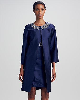 Neiman Marcus Silk Dupioni Beaded-Collar Jacket