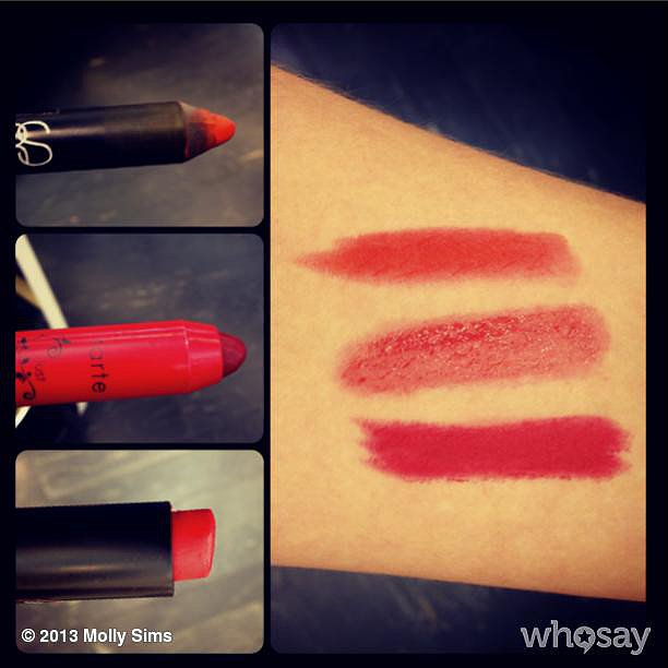 Molly Sims tried out some crimson lip shades. Source: Instagram user mollybsims