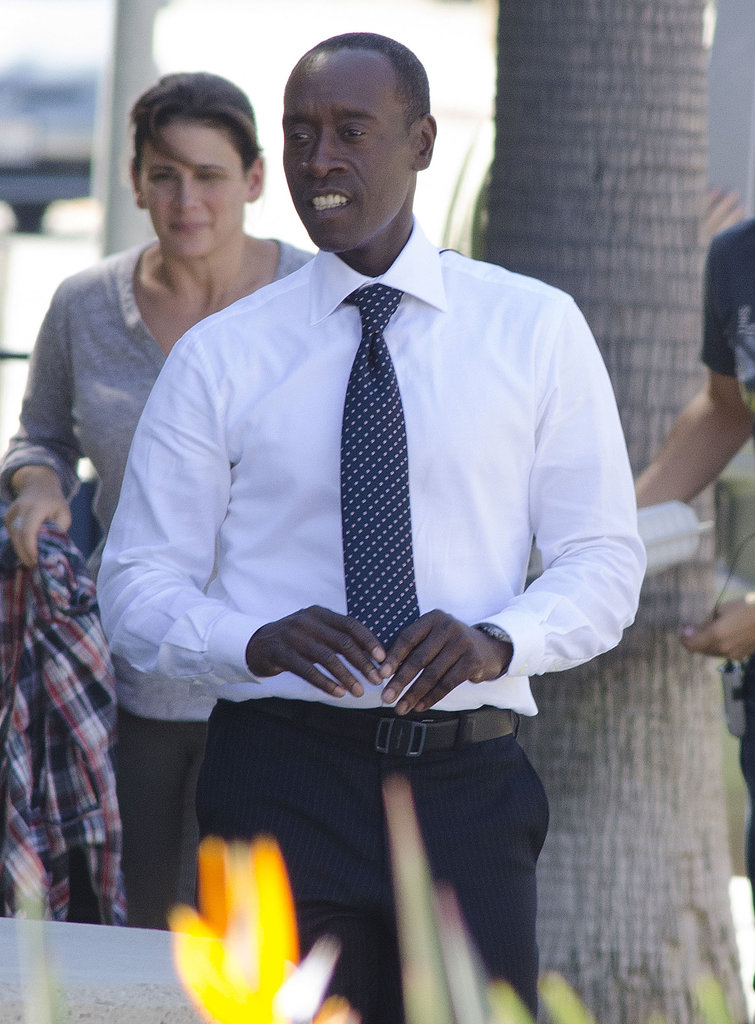 Don Cheadle suited up in LA to film House of Lies on Monday.