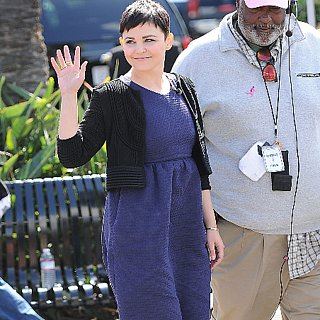 Ginnifer Goodwin in Blue Dress on Extra