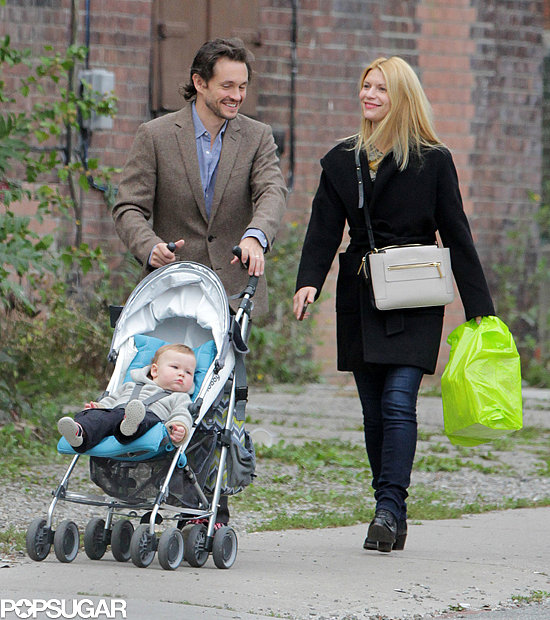 Claire Danes appeared to be in a cheerful mood when she went for a walk with husband Hugh Dancy and their son, Cyrus, in Toronto.
