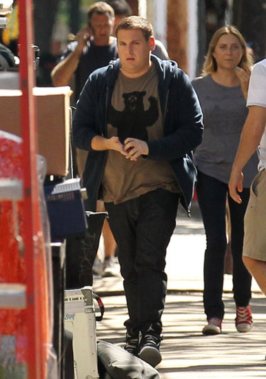 Jonah Hill arrived on set.