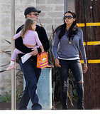 Matt and Luciana Damon headed out with their daughter.