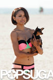 Kat Graham held on to her pup, Izzy.