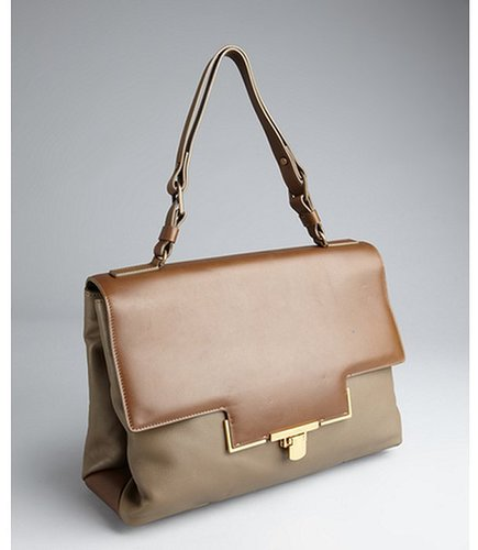 Lanvin brown and taupe goatskin briefcase-style shoulder bag