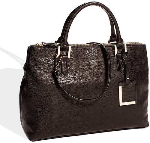 Wide Faux Leather Tote