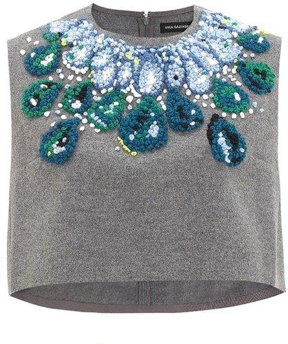 Vika Gazinskaya Grey Wool Necklace Top