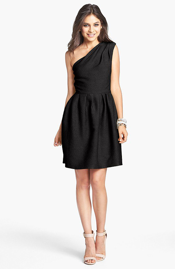 Rest assured this Halston Heritage jacquard one-shoulder fit-and-flare dress ($295) will last you well beyond this season — it's a classic.