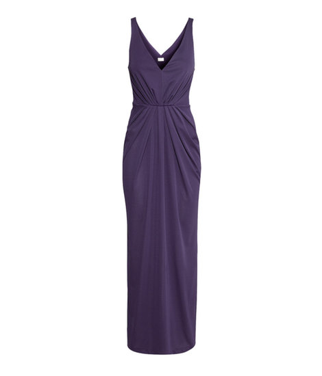 H&M's jersey dress ($50) would be black-tie perfect with a statement necklace to offset the bare neckline.
