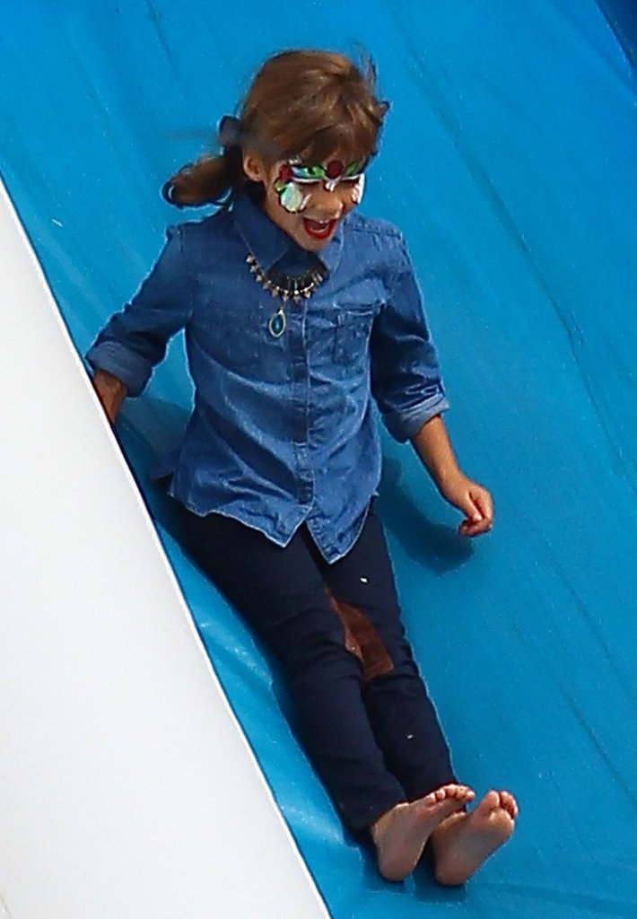 Jessica Alba's daughter Honor took a ride down an inflatable slide in LA.