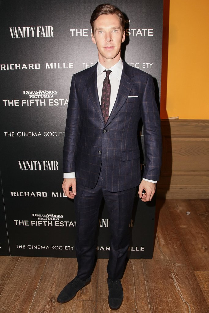Benedict Cumberbatch looked sharp in a blue windowpane-checked suit at a screening of The Fifth Estate.