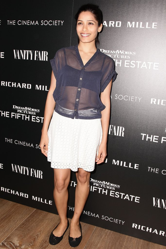 Frieda Pinto went for a sheer shirt and a sweet skirt at a screening of The Fifth Estate in New York.