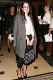 Audrey Gelman kept warm in a gray coat at a screening of The Fifth Estate in New York.