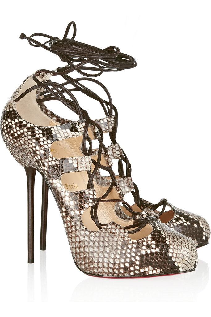 Christian Louboutin Wales Python Lace-Up Pumps ($628 on sale)