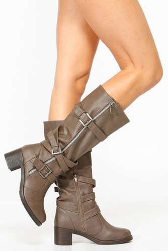 Bamboo Taupe Faux Leather Biker Boots @ Cicihot Boots Catalog:women's winter boots,leather thigh high boots,black platform knee