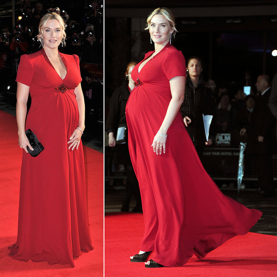 Kate Winslet in Red Jenny Packham Maternity Dress