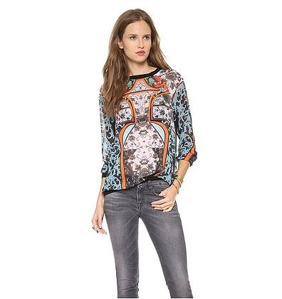 Play with a bold print this season. We're suggesting Clover Canyon's graphic top ($146, originally $198) as the blouse for the job.