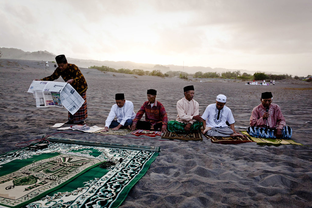 Muslims prepared for Eid al-Adha prayers at the beach in Yogyakarta, Indonesia.