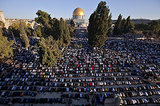 Muslims gathered at the Al-Aqsa Mosque compound in Jerusalem for the Eid al-Adha prayers.