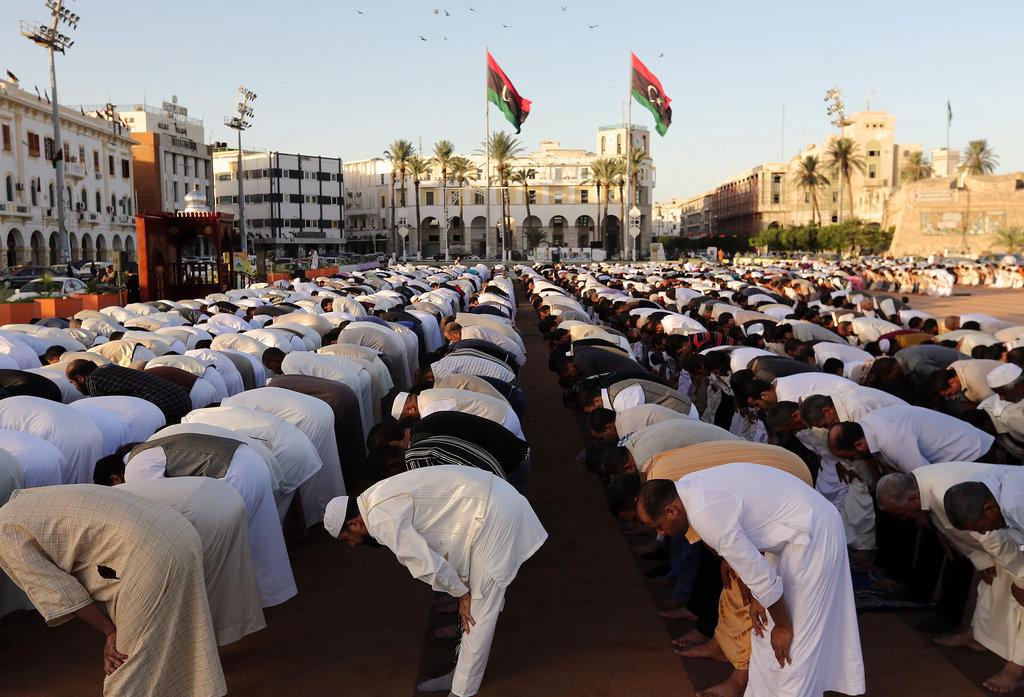 In Tripoli, Libya, Muslims prayed in Martyr's Square to celebrate Eid al-Adha.