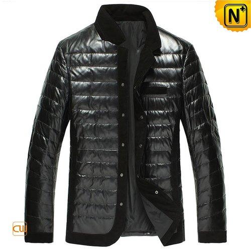 Men Australian Leather Down Fill Jacket Black CW848332