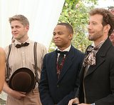 Wendell (Michael Grant Terry), Edison (Eugene Byrd), and Hodgins (T.J. Thyne) watch the happy couple.