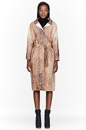 CARVEN Brown Wool Fawn Print Coat