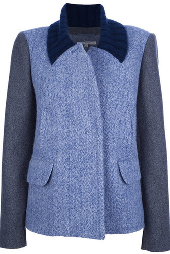 Carven 2tone Jacket W/knit Collar Greyblue
