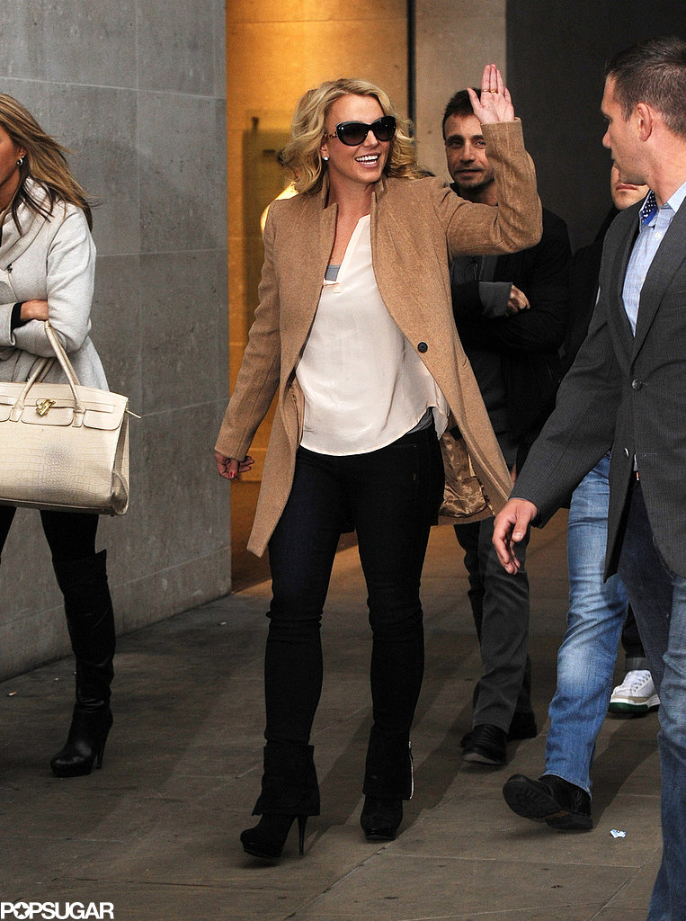 Britney Spears was all smiles while leaving the BBC Radio 1 studios in London.