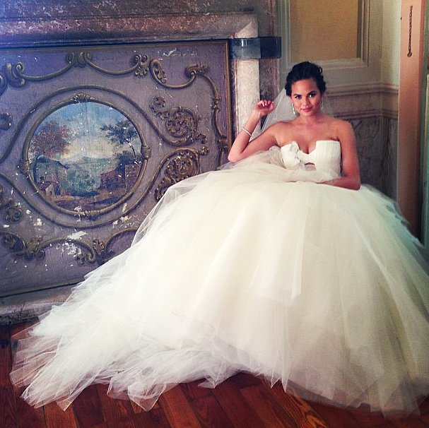 Chrissy Teigen debuted her princess-perfect Vera Wang gown — one of three wedding dresses she wore that day by the designer — on Instagram.  Source: Instagram user ChrissyTeigen