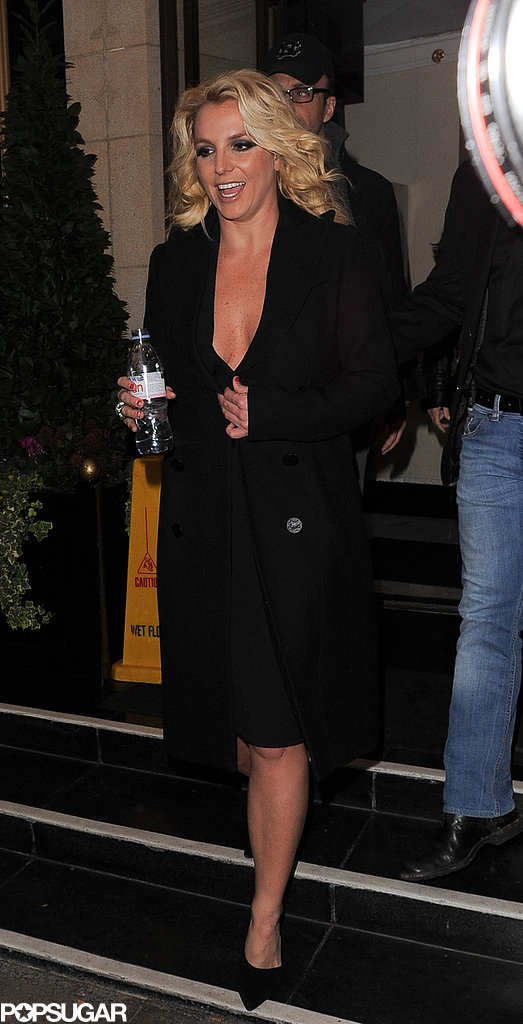 Britney Spears wore a low-cut black dress in London.