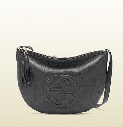 Soho Black Leather Messenger Bag