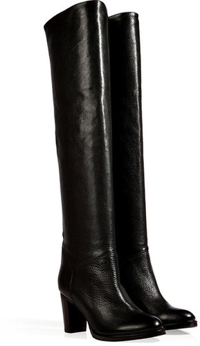 LAutre Chose Textured Leather Over-the-Knee Boots in Black
