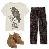 Get a similar look and suit up your little one with a  fun animal shirt ($28), army pants ($18, originally $29) with pockets, and lace-up boots ($40) he'll live in all season long.