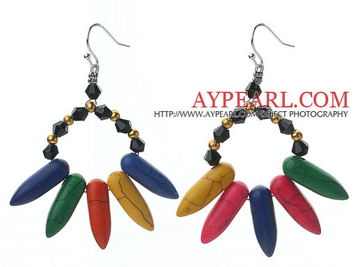 Black and Golden Color Crystal and Multi Color Teeth Shape Turquoise Earrings