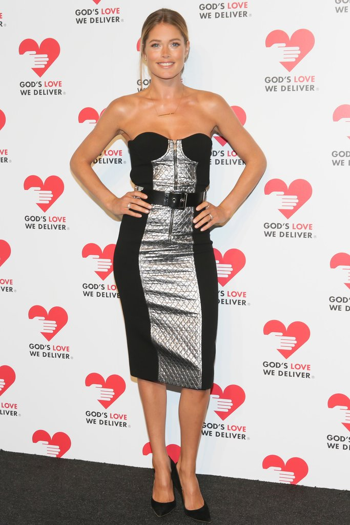 Doutzen Kroes worked her curves in a quilted metallic Michael Kors sheath at the God's Love We Deliver Spring Studios event.