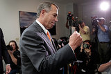 Speaker John Boehner gave a fist-pump after the bipartisan deal was reached to raise the debt ceiling and reopen the government.