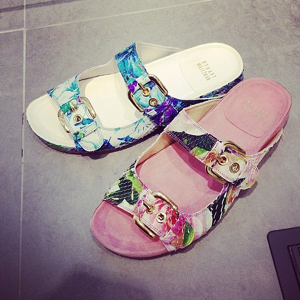 Floral birkenstocks (they're here to stay, everybody!), courtesy of Stuart Weitzman.