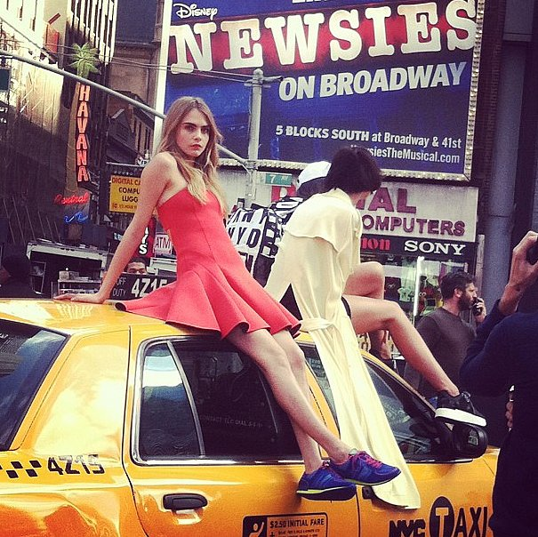 Cara Delevingne looked great on the roof of a taxi.