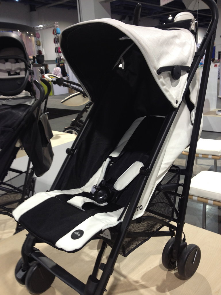 Mima's umbrella stroller, the Bo, features faux leather details.
