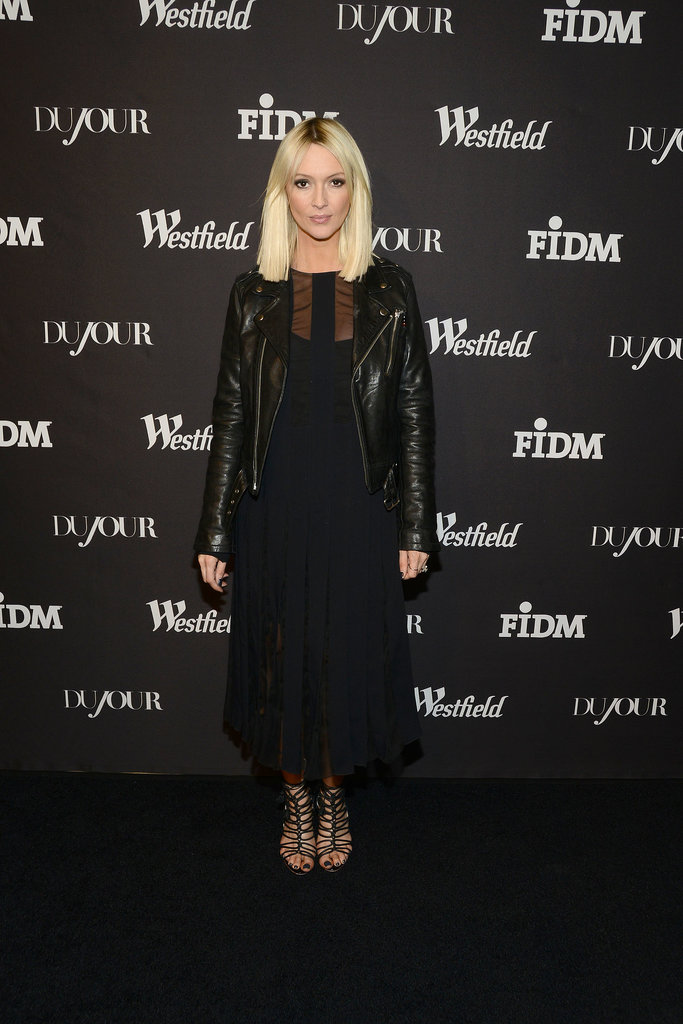 Zanna Roberts Rassi layered black separates at DuJour Magazine's bash.