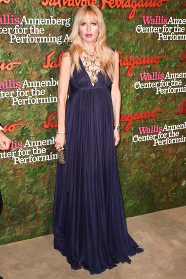 Rachel Zoe joined Ferragamo in a jewel-tone maxidress and statement necklace at the Wallis Annenberg Center for the Performing Arts.