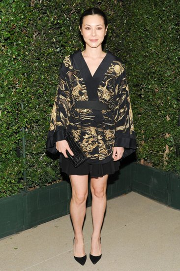 China Chow styled Emilio Pucci's black and gold kimono with sleek pumps at Salvatore Ferragamo's inaugural gala for the Wallis Annenberg Center.