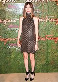 Gia Coppola glowed in Salvatore Ferragamo's gold metallic design at the label's LA bash.