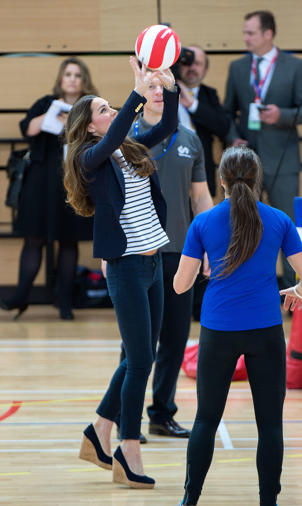 Kate Middleton played volleyball while making an appearance in London.