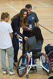 Kate Middleton shook hands with one of the athletes at the London workshop.