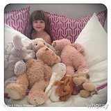 Harper Smith was hard to spot in a bed filled with stuffed animals. Source: Instagram user tathiessen