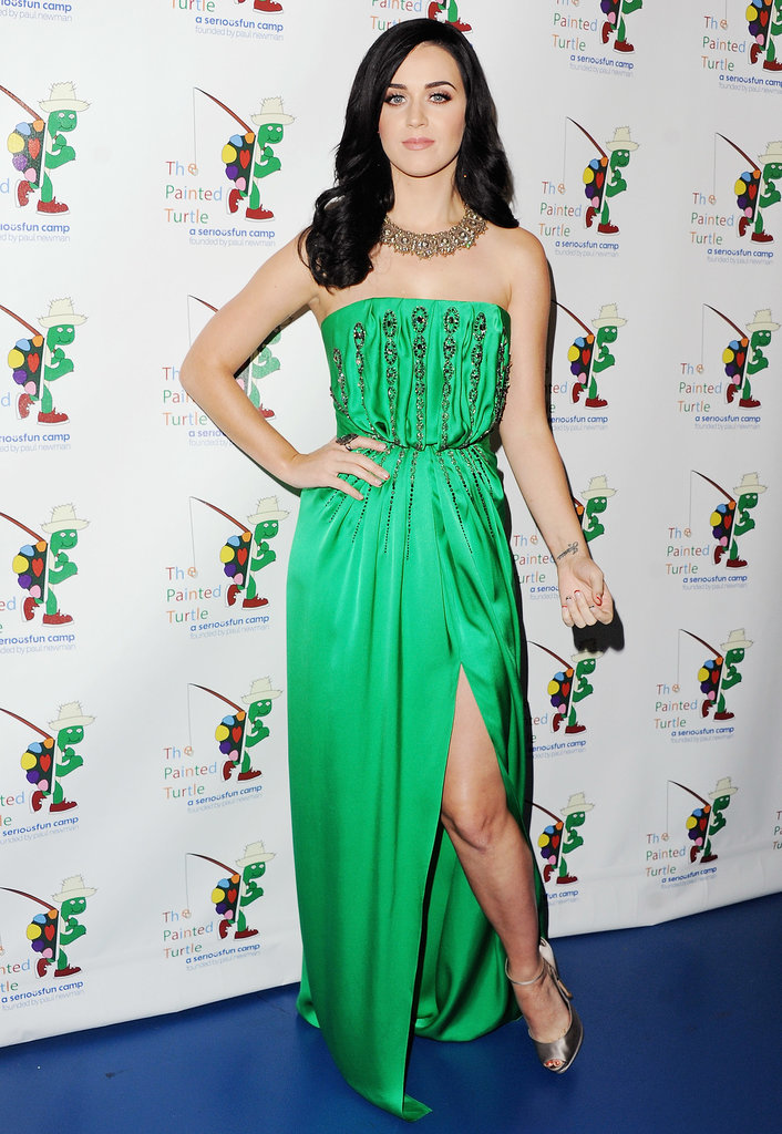Perry definitely has our vote for queen of the Emerald City, turning heads in an embellished Yves Saint Laurent gown for a 2013 celebration of Carole King and her music. She completed her glowing ensemble with a vintage diamond necklace and bronze ankle-strap heels.